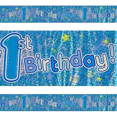 Happy 1st Birthday Plastic Colourful Blue Foil Holographic Banner 2.6m Party