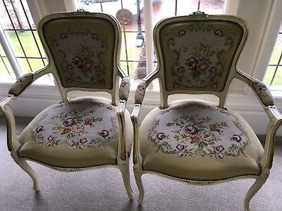 Antique Needlepoint Tapestry Chairs – Pair Circa 1930's