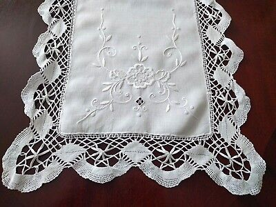 "Antique_French_Linen_Runner_Embroidered_With_Torchon_Lace_42""_x_14""."