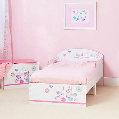Flowers And Birds Toddler Bed Junior Kids Protective Side Panels + Foam Mattress