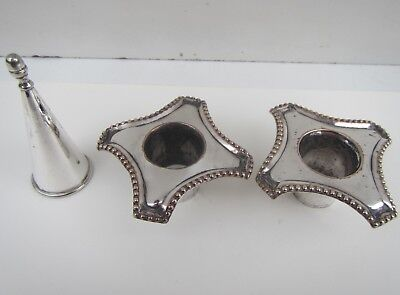 Vintage Silver Plated Candle Snuffer & Pair of Candlestick Tops