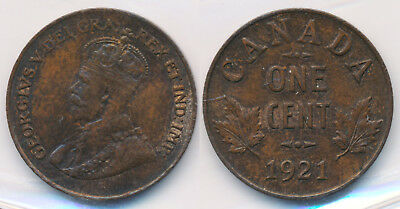 1921 Canada Cent (Iccs Mint State) Scarce This Nice & Attractive !! > No Reserve