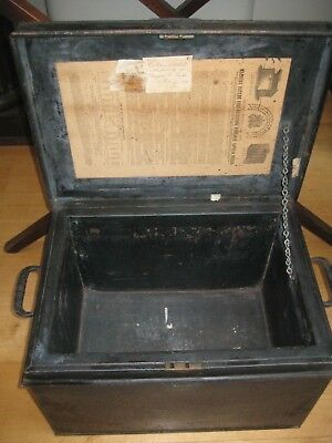 Antique 1870's Milners' Fire-Resisting Portable Black Metal Safe/Trunk/Deed Box