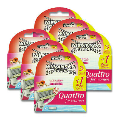 24x Wilkinson Quattro for Women Papaya & Pearl Rasierklingen