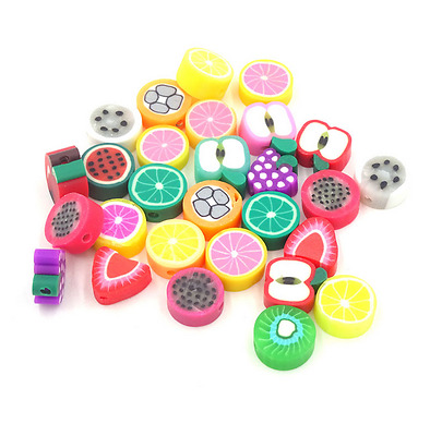 Free Ship 30Pcs Mixed Polymer Fimo Clay Fruit Spacer Beads Jewelry Making
