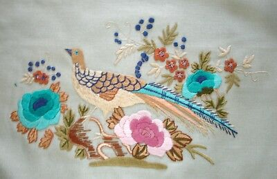 Vintage Hand Embroidered Linen Picture Unframed Oriental Bird & Blossom
