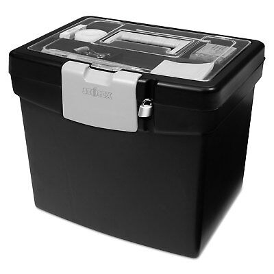 Storex Portable File Box with Large Organizer Lid 13 1/4 x 10 7/8 x 11 Black