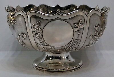 Antique Chinese Silver Bowl Lotus Form 6 Panels Repousse, Zee Wo Shanghai C.1900
