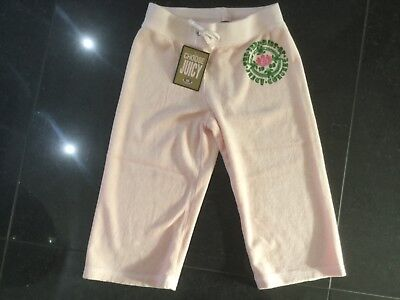 NWT Juicy Couture New & Genuine Girls Age 8 Pink Cotton Crop Leg Track Pants