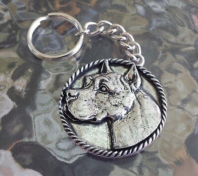 Family House Pet Purebred 1 Pit Bull Terrier Dog Pewter Key Chain All New.
