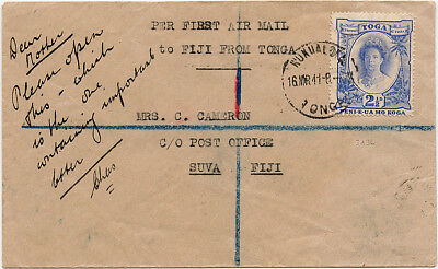 Tonga Fiji airmail cover. Survey flight by RNZAF DH39 March 1941