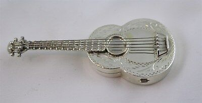 """Wallace Sterling Silver Guitar Shaped Pill Box 3"""""""