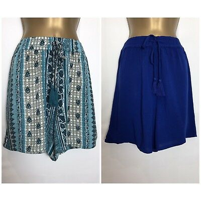 M*S Blue or Teal Print Elastic Waist Lightweight Shorts Size 8 - 24 (ms-225h)