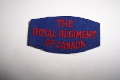 """Canadian Sleeve  Patch Ww-2,  """" The Royal Regiment Of Canada """""""