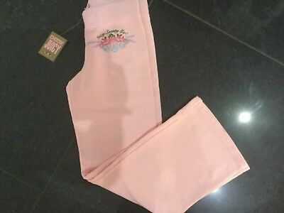 NWT Juicy Couture New & Genuine Pink Cotton Tracksuit Pants Girls Age 8