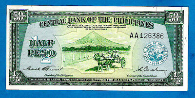 Philippines P132b 1/2 Peso OX CART Sign Garcia/Cuaderno English Issue 1949 AUNC
