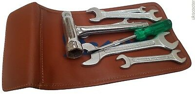 ukscooters VESPA HANDY TOOLKIT & TAN GENUINE LEATHER POUCH PLUG SPANNER 8 PC