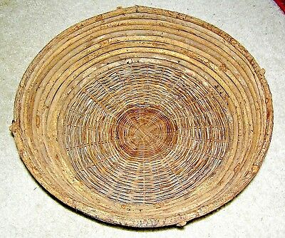 Antique willow farm house basket with old nails, turn of the century