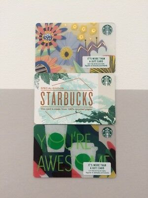 Starbucks Card 2018 Spring Flowers You Are Awesome Recycled Gift Cards Set Of 3