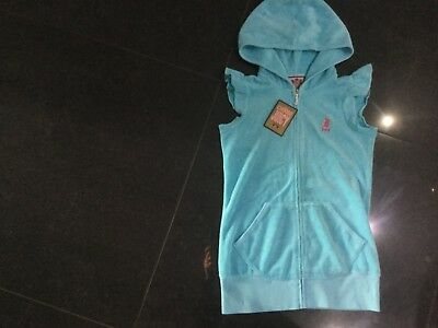 NWT Juicy Couture New & Gen. Girls Age 8 Pale Blue Cotton Hoody With Juicy Logo