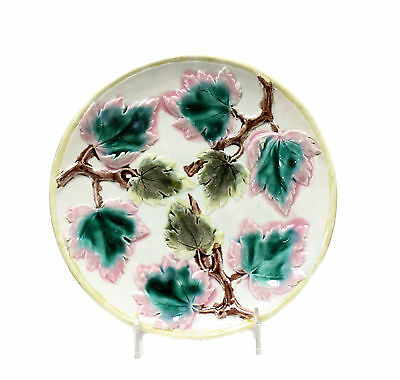 Antique Majolica Etruscan Plate Green Pink Maple Leaves Pottery Dish