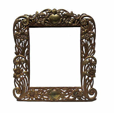 Vintage Art Nouveau Style Metal Picture Frame Floral Scroll Patterned No Glass