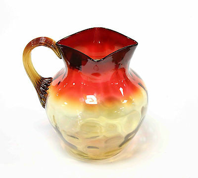 Amberina Reverse Thumb Two Tone Ombre Water Pitcher Red Amber Reeded Handle
