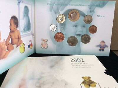 2002 United Kingdom brilliant uniculated coin collection proof for baby set