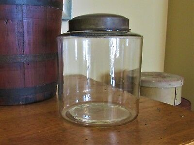 "AAFA 1800s Antique Blown Glass Pantry Jar Tin Lid LARGE 7"" Apothecary PRIMITIVE"
