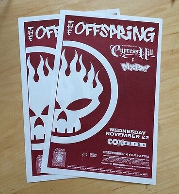 Offspring Cypress Hill MXPX cox arena san digo nov 22 2000 TWO HANDBILLS