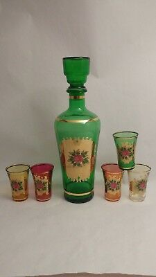 Vintage Mid Century Glass Decanter Set With Rose Decoration & 5 Shot Glasses