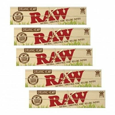 5x Raw Organic hemp King Size Slim Natural Unrefined Cigarette Rolling Papers