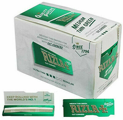 1x Box Rizla Green Cigarette Rolling Papers 100 Booklets (50 sheets per pack)