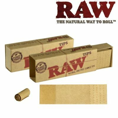 2 Raw Natural Gummed Tips Perforated Cigarette Rolling Paper Tips (2x33)