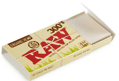 RAW 300's Natural Unrefined ORGANIC Hemp Rolling Paper Size 1.25 (300 sheets)