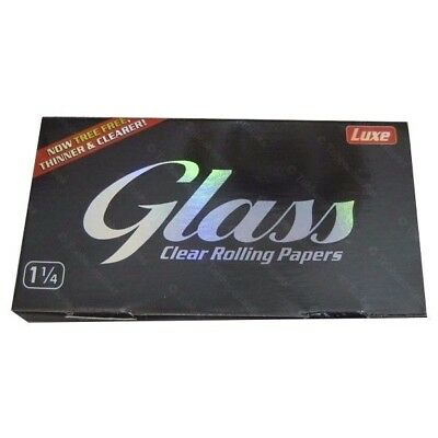 5x Glass Clear Rolling Papers 1 1/4 Size 50 Leaves Per Pack