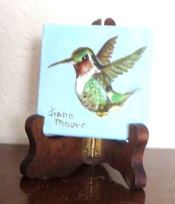 """Original Oil Painting of Ruby Throat Humming Bird - 3"""" x 3"""" - Includes 4"""" Easel"""