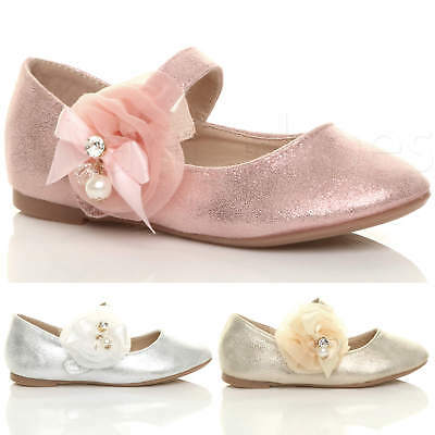 Girls Kids Childrens Flat Mary Jane Wedding Bridesmaid Shoes Ballerinas Size