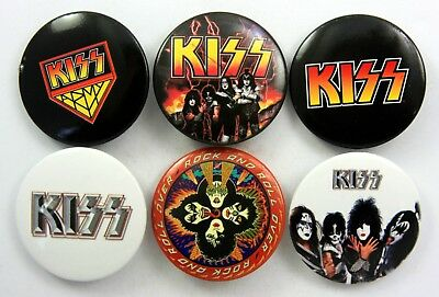 KISS BUTTON BADGES 6 x Large Kiss Pin Badges * Rock and Roll Over *