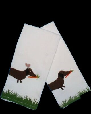 Benefiting rescue!! Set of 2 Dachshund Easter Cotton Kitchen towels