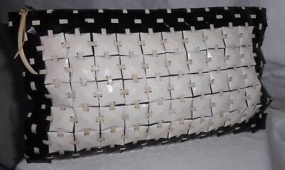 Original WW11 era 1940's Black and White Bakelite Tiles Massive Size Clutch Bag.