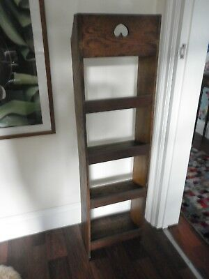 Antique Arts + Crafts Narrow Wood Bookcase Cut Out Heart Open Back 112cm x 30cm