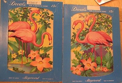 PAIR ~ SET (TWO) Vintage Meyercord Multi Flamingo Decal X307-E & F MIP NOS
