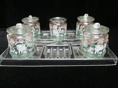Old Vintage Nursery Set with Tray, 5 Jars and 4 Lids ~ 70 Years Old