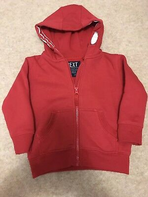 Next Boys Red Zip Up Hoody Jumper Jacket 12-18 Months