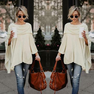USA Off The Shoulder Cowl Neck Lightweight Knit Spring Sweater Poncho Boho Peasa
