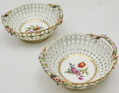 Amazing Pair Of Antique Meissen Hand Painted Reticulated Porcelain Basket Bowls