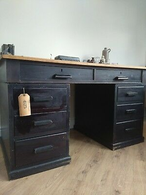 1920's Headmasters solid oak Antique desk. Antique, vintage, industrial chic.