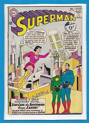 """Superman #159_February 1963_Very Good_""""lois Lane, The Supermaid From Earth""""!"""