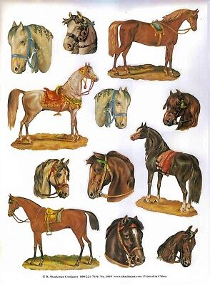 """""""crazy About Horse Stickers"""" 12 Embossed Per Page, Lot Of 2 Pages/ 24 Stickers"""
